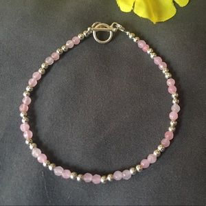 Jewelry - Sterling silver and pink crystal bracelet